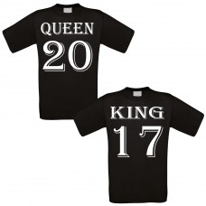 Partnershirt schwarz 2er-Set - King & Queen - individualisierbar
