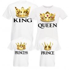 Familienshirts in weiß für Vater, Mutter, Sohn und Tochter - Königsfamilie