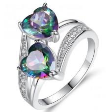 Damenring  Ring mit Strasssteinen und 2 Herzen
