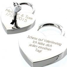 Liebesschloss mit Lasergravur - Scheiss auf Valentinstag Ich liebe dich jeden einzelnen Tag