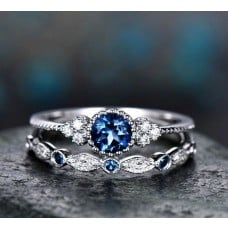 Damenring 2 teilig Ring mit blauen Strasssteinen