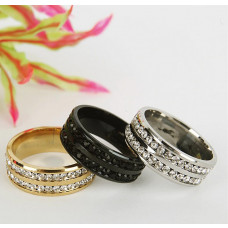 Damenring  Ring aus Edelstahl mit 2 Reihen Strasssteinen