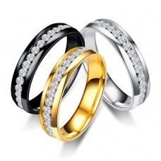 Damenring  Ring aus Edelstahl mit Strasssteinen