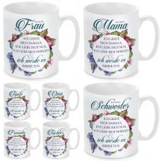 Tasse mit Motiv - Ich liebte dich damals, ich liebe dich nun....- Oma / Mama / Schwester / Tochter / Tante / Frau / Freundin.