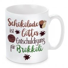 Tasse mit Motiv - Schokolade ist Gottes Entschuldigung für Brokkoli.