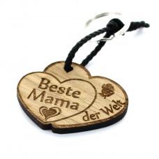 Gravur Schlüsselanhänger aus Holz - Modell: Beste Mama Doppelherz