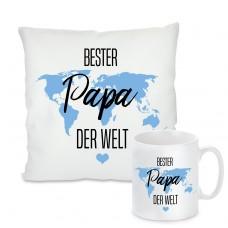 Kissen oder Tasse: Bester Papa der Welt - Weltkarte