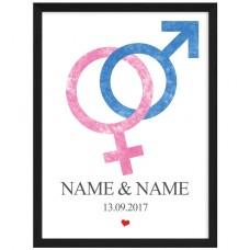 Wandbild: Love (Frau + Mann)  (personalisierbar)