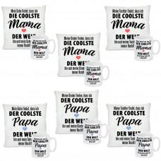 Kissen oder Tasse: Die coolste Mama / Der coolste Papa