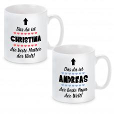 """Tasse mit Motiv - Das ist """"Wunschname"""", der beste Papa / die Beste Mama der Welt"""