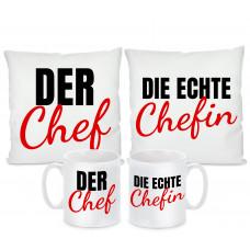 Kissen oder Tassen Set: Chef / Chefin
