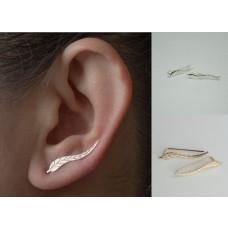 1 Paar ( 2 Stück ) Blätter Silber/Gold Ohrringe