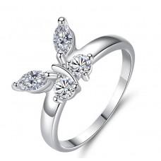 Damenring  Ring mit Schmetterling und Strasssteine