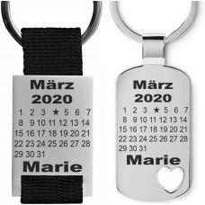 Metall Schlüsselanhänger zur Geburt - Motiv: Geburtskalender