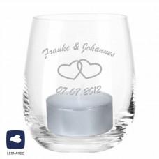 Windlicht mit Gravur zur Hochzeit (Herzen oder Ringe)