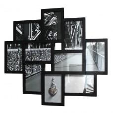 Liebesschloss Bilderrahmen - schwarz/weiß - mit Gravur - verschiedene Schlösser zur Auswahl