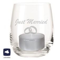 """Windlicht """"Just Married mit Ringen"""""""