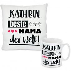Kissen oder Tasse mit Motiv Modell: Beste Mama der Welt - individualisierbar