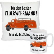 Kissen oder Tasse: Für den besten Feuerwehrmann (personalisierbar)