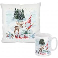Kissen oder Tasse mit Motiv - Fröhliche Weihnachten