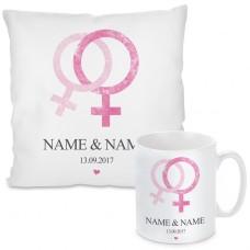 Kissen oder Tasse mit Motiv - Love (Frau + Frau)  (personalisierbar)