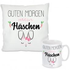 Kissen oder Tasse mit Motiv - Guten Morgen mein Häschen