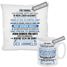 Kissen oder Tasse mit Motiv Modell: FÜR (WUNSCHNAME) - Farbe Blau - individualisierbar