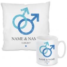 Kissen oder Tasse mit Motiv - Love (Mann + Mann)  (personalisierbar)