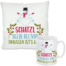 Kissen oder Tasse mit Motiv - Schatzi, bleib bei mir.