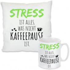 Kissen oder Tasse mit Motiv - Stress