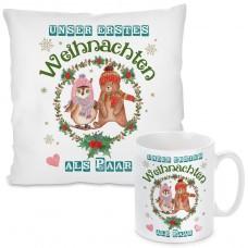 Kissen oder Tasse mit Motiv - Unser erstes Weihnachten als Paar!