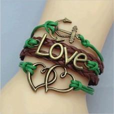 Armband mit Herzen - Love Schriftzug und Anker