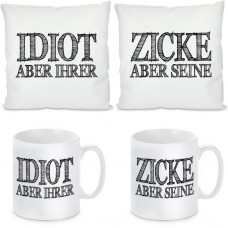 2 Kissen 2 Tassen - Idiot und Zicke