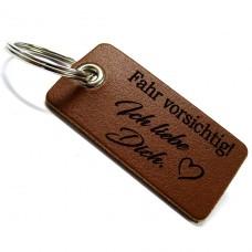 Echtleder Schutzengel Schlüsselanhänger: Fahr vorsichtig (verschiedene Ausführungen)