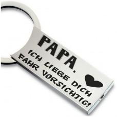 Metall Schlüsselanhänger - Mama / Papa ich liebe dich fahr vorsichtig !