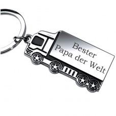 Metall LKW Schlüsselanhänger :  Bester Papa / Mann der Welt