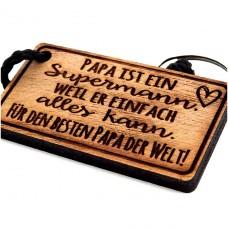 Gravur Schlüsselanhänger aus Holz Modell: Papa ist ein Supermann...