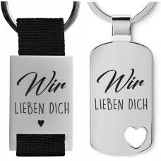 Metall Schlüsselanhänger Modell: Wir lieben Dich / Ich liebe Dich