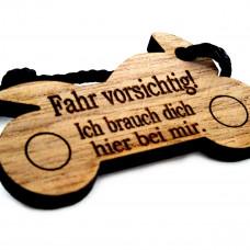 Motorrad Schlüsselanhänger aus Holz Modell: Fahr vorsichtig - verschiedene Varianten
