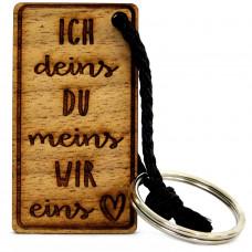 Gravur Schlüsselanhänger aus Holz Modell: Ich deins, du meins, wir eins