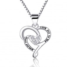 """Halskette mit Anhänger in Herzform """"I love you to the moon and back"""""""