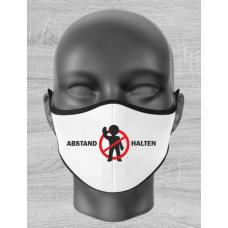 """Mund Nase Maske Kind mit """"ABSTAND HALTEN-Motiv"""" und Gummizug"""