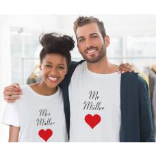 Mr. und Mrs. Partner T-Shirts mit Namen