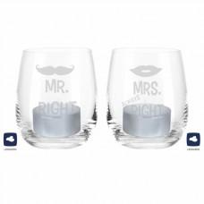 Windlicht-Set Mr. Right & Mrs. Always Right