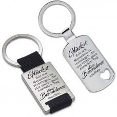 Metall Schlüsselanhänger - Glück ist, Zeit mit Menschen zu verbringen ...