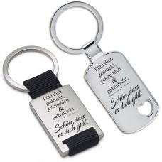 Metall Schlüsselanhänger - Fühl dich gedrückt, geknuddelt & geknutscht ...
