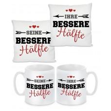 2er Set Kissen oder Tasse: Bessere Hälfte