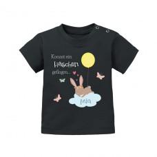 Babyshirt: Kommt ein Häschen geflogen (personalisierbar)