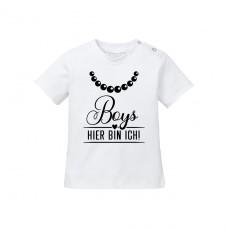 Kinder - Babyshirt Modell: Boys - HIER BIN ICH!