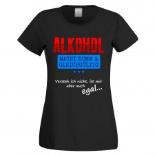 Funshirt weiß oder schwarz, als Tanktop oder Shirt - Alkohol macht dumm und gleichgültig....